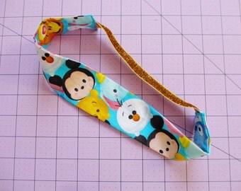 Tsum Tsum Characters Print Gold Glitter Elastic Headband