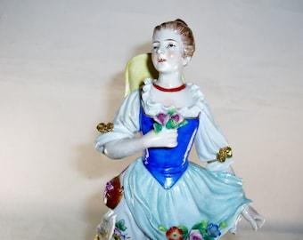 Sitzendorf German Figurine, Woman with Hat, Gathering Flowers, Antique