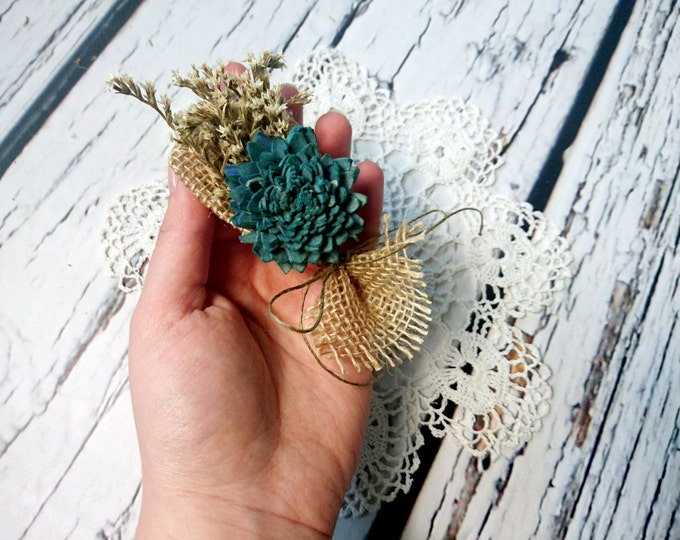 Teal turqoise rustic wedding Rustic BOUTONNIERE / CORSAGE groomsman ring bearer boutonniere Sola Flower dried limonium burlap custom