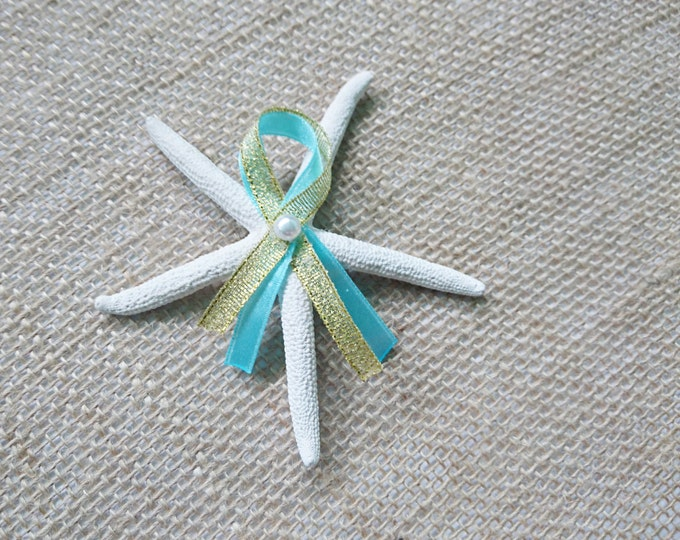 Starfish summer beach wedding white gold turqoise aqua Groom and groomsmen boutonniere, Wedding Flowers custom pearl natural