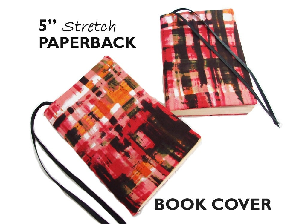 Checkered Cover Cookbook ~ Stretch paperback book cover pink painted plaid by