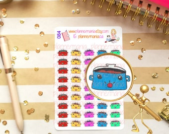 Crock Pot Stickers, Cooking Stickers, Planner Stickers, Hand Drawn Stickers 084