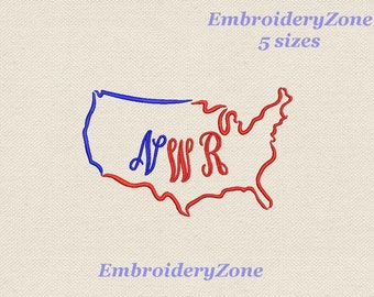 Silhouette USA frame for monograms. Embroidery design. Instant Download. Hoop 5x7 6x10 7x11 5 sizes. The geographical outline of the USA