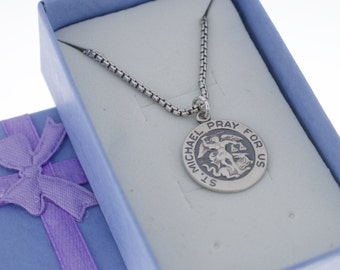 Mens St. Michael Pray for Us Medal necklace in sterling silver on oxidized sterling silver box chain.  St. Michael Medal Pendant Charm