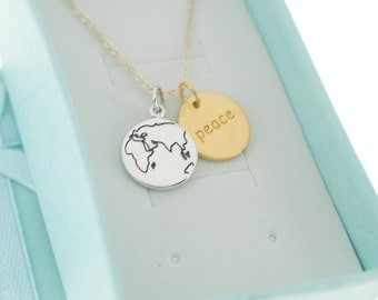World peace necklace in Sterling Silver and 24K Gold Plated Sterling Silver on gold filled chain.  World peace necklace.