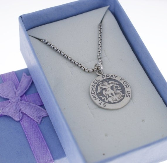 mens st michael pray for us medal necklace in sterling silver