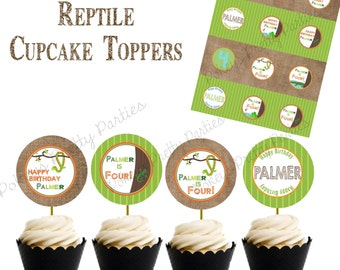 REPTILE  Birthday Party Cupcake Toppers Frog Snake Alligator Crocodile Lizard