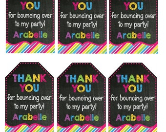 JUMP Bounce Birthday Party Thank You Tags Trampoline