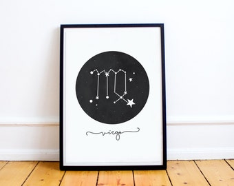 Virgo Constellation Print - Zodiac Starsign - Personalised Print - Wall Art - Nursery Decor - Birthday Gift - Baby Gift  Nursery Art