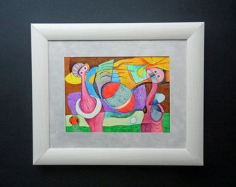 """INK drawing. Modern art colorful. Size:16 cm x 22 cm (6.2"""" x 8.6"""") LIMITED  EDITION. Made by Ramon Estrela"""