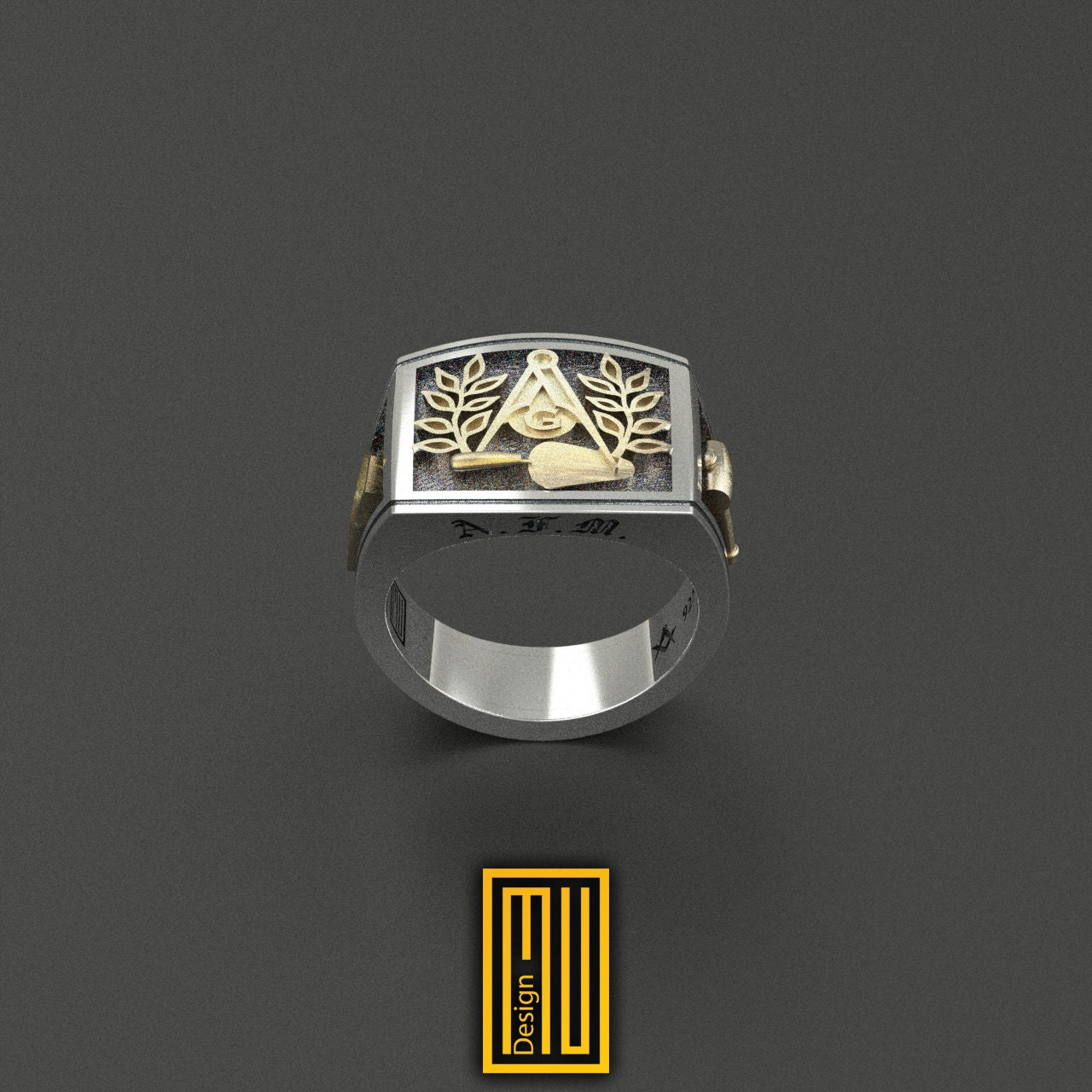 masonic ring unique design for 925k sterling silver with