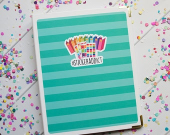 Binder Cover Sticker Set - #StickerAddict Aqua Two-Tone Stripes! Sized perfectly to fit a standard mini binder!
