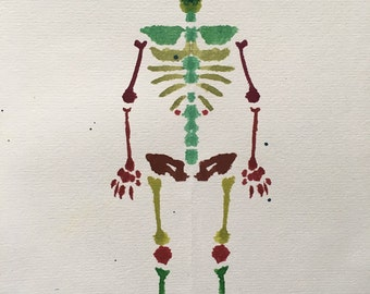 Reptile Rorschach Skeleton Painting / Greeting Card