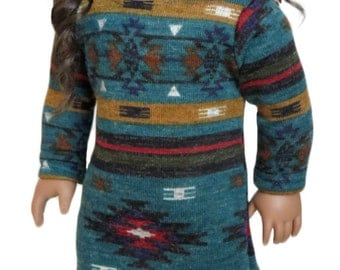 Fits Like American Girl Doll Clothes .  Teal, Rust, and Mustard Tribal-Print Dress.