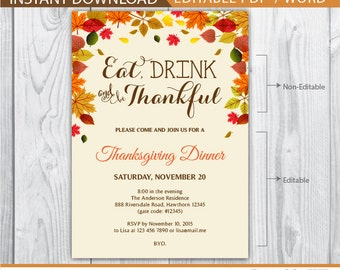 thanksgiving invitations / thanksgiving dinner invitations / thanksgiving invitations printable / eat drink and be thankful / INSTANT