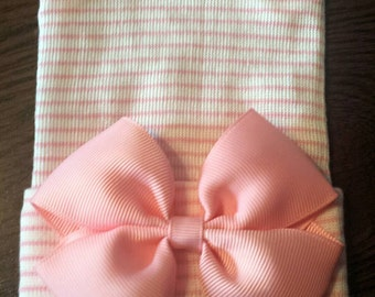 Pink Bow Hospital Hat - Newborn - Pink & White Bow Hospital Hat - Bow Hat - Baby Girl Hat - Newborn Baby Girl Hat - Bow Hospital Hat