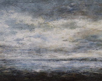 Lindisfarne Causeway Seascape Northumberland Coast - Signed Limited Edition Coastal Art Print from original oil painting