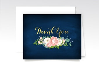 JENNY . Thank You Custom Cards & Envelopes . Printed Heavy Weight Premium Folded Cards . Navy Chalkboard Gold Calligraphy Peony Rose