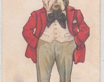 A/S Wall Dressed Dapper Bulldog Dog,Tale of Woe Fantasy,PM 1914,Antique Postcard