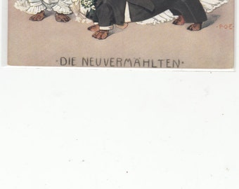 Die Neuvermahlten True Love Dachshunds Wedding Dogs Signed Engelhart Antique Postcard