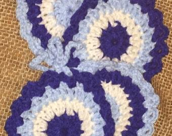 Shades of Blue Multi-colored Crochet Coasters - Handmade Housewares - Set of 4