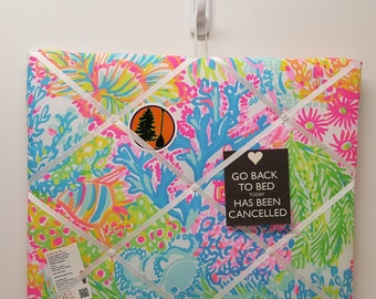 Memo Board made with Lilly Pulitzer Fabric!
