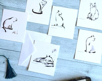 Postcard Set, Cat Cards, Minimalist Cat Painting, All Purpose Blank Card, Post Cards