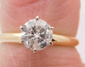 1.13 Carat Certified Round Cut Diamond Solitaire Engagement Ring 14K Gold