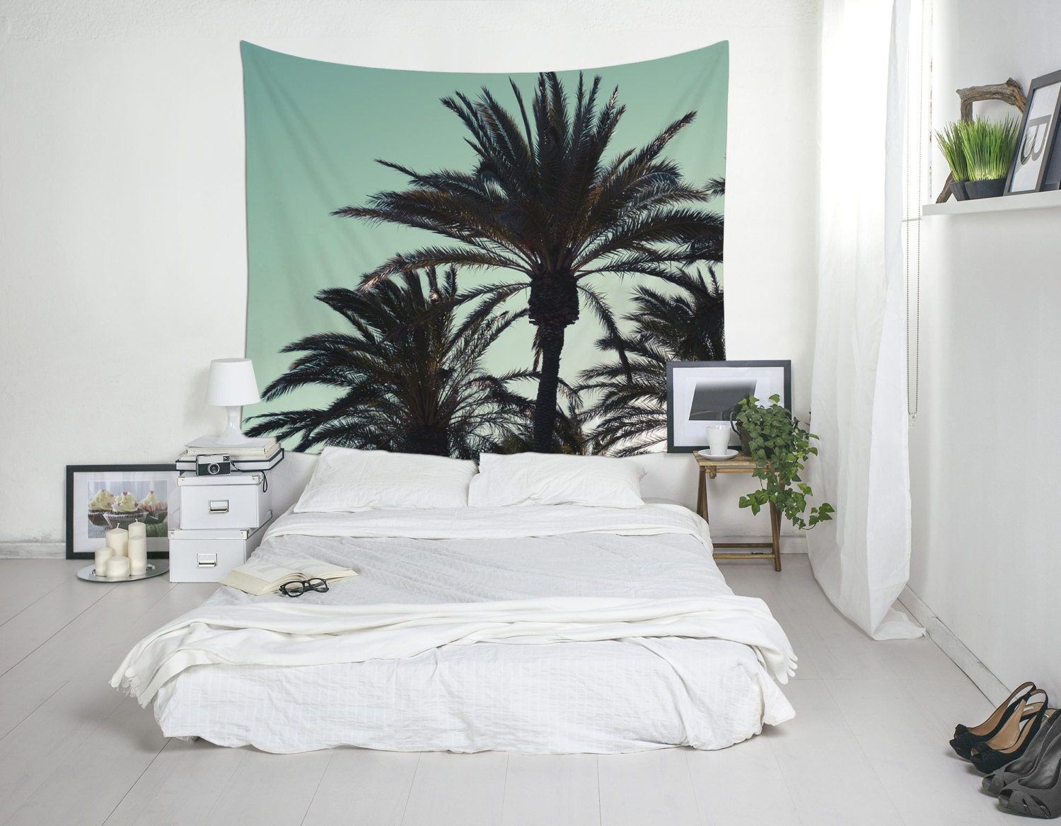 palm tree tapestry tropical wall art bedroom wall decor. Black Bedroom Furniture Sets. Home Design Ideas