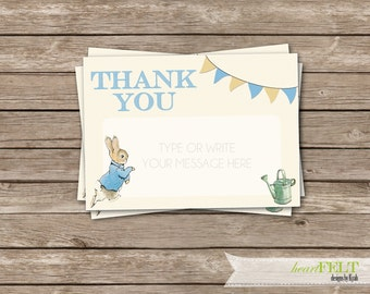 Peter Rabbit thank you cards- First Birthday/ baby shower digital printable thank you cards- 5 x 7 inches