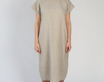 Linen Dress with Square Neckline  - Natural