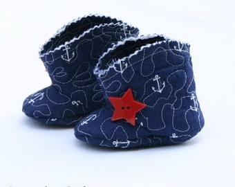 Baby Boots, Baby Booties, Newborn Booties, Baby Shower Gift, Nautical Baby Boots, Anchor Baby Clothes