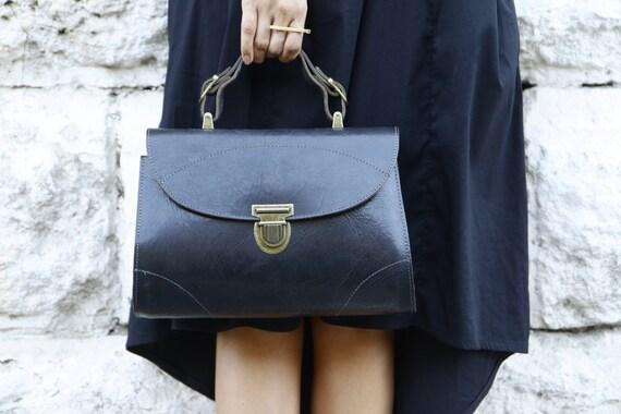 Black Leather Handbag / Tote Bag / Women Purse / Cross Body Bag / Shoulder Bag / Every Day Bag / Messenger Bag / Shoulder Bag - Soho