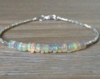 Opal and Fine Silver Bracelet, Beaded October Birthstone Gemstone Bracelet, Welo Opal Bracelet
