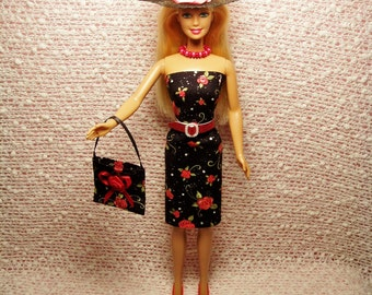 Handmade Barbie Clothes - Roses Sheath Dress, Purse, Necklace, Belt, Hat and High Heel Shoes.