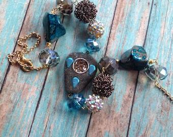 Gothic Blue - Statement Necklace, Beadwork Necklace, Glass Bead Necklace, Beaded Necklace, Womens Jewelry