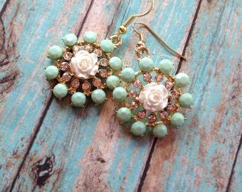 Mint Flower Earrings with Rhinestones, Gift Ideas, For Her, Jewelry, Earrings, Flower Earrings, Mint Earrings