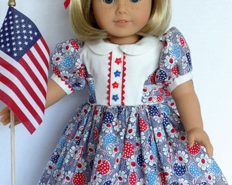July 4th Celebration Dress for Kit or Most Other 18 Inch Dolls