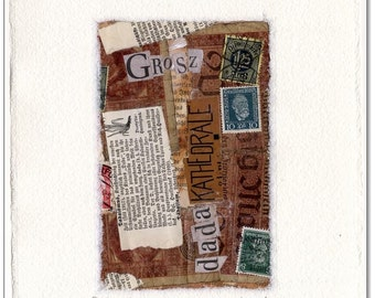 Original collage: dada Cathedral / 16 x 21 cm with handmade paper mat