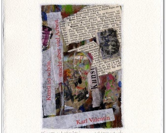 Original collage: art & work / 12 x 17 cm with handmade paper mat