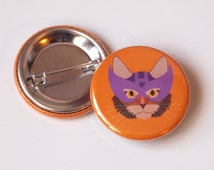 Badge ~ Hawkeye Cat ~ Super Cats superhero cat art ~ marvel comics The Avengers ~ orange, purple