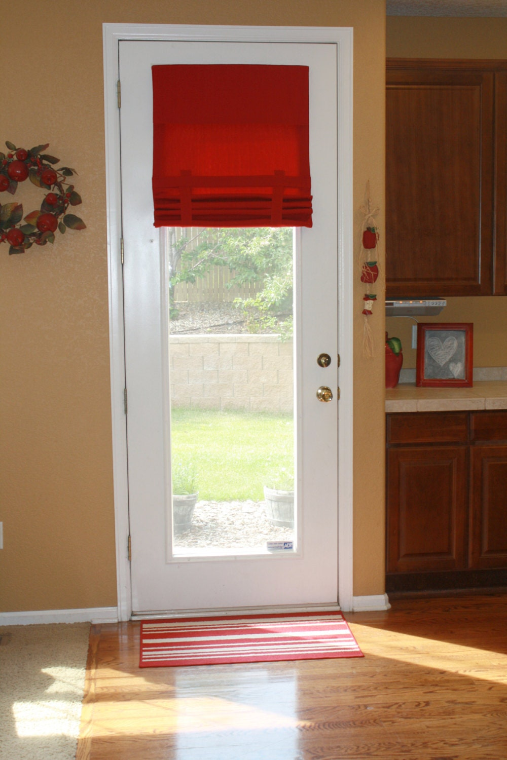 Extra Long French Door Curtains Red Fabric Pictured