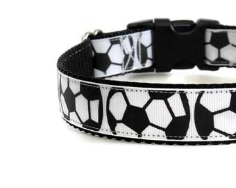 Black & White Soccer Balls Adjustable Dog Collar -  (Buckle or Martingale)