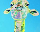 Bob from the San Francisco Zoo, blue giraffe, animal art, nursery, giraffe art, fine art, acrylic painting, baby, baby giraffe, wall poster