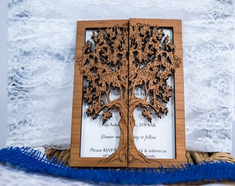 Tree wedding invitation sample wood wedding invitation