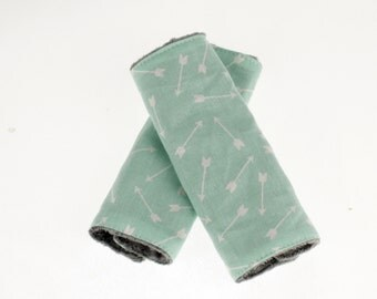 Carseat Strap Covers in Mint Arrow and Gray Minky