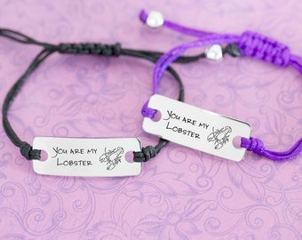 Set of 2 - Engraved Personalized Bar Bracelet - You Are My Lobster - Friends Jewelry - Ross and Rachel - Anniversary - Custom Engraving