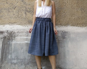 Midi full skirt-womens midi skirt-full skirt -womens fashion-summer fashion-striped blue skirt-paperbag skirt