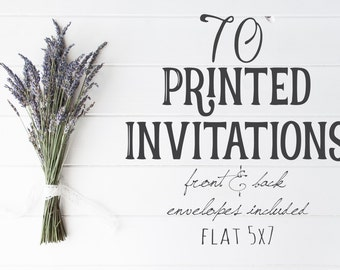 70 Professionally Printed, Front and Back, Flat 5X7 Invitations, envelopes included, Printing Option, Printed Cards, Printing Service