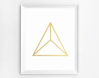 Minimalist Gold Print, Geometrci Printable Art, Geometric Print, Modern Wall Art Print, Geometric Artwork, Pyramid Print, Modern Home Decor